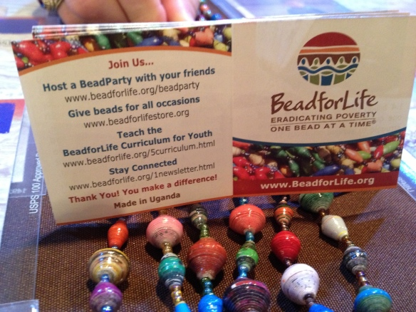 If you're interested in the beads, visit this site. They're made by women in Uganda.