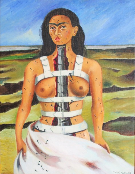 Frida Kahlo, The Broken Column, 1944, Oil on canvas mounted on masonite, 40 x 30,7 cm, Museum Dolores Olmedo Patino, Mexico-City, Mexico.
